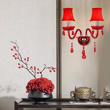 Led Crystal Wall Light Sconce E14 Lamp Glass Bedside Hallway Modern Fixture New