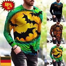 Herren Langarm T-Shirts Bluse Freizeit Shirt Tunika Oberteile Tops Halloween DE