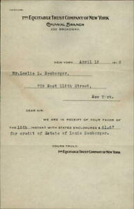 1916 New York (NY) Letter The Equitable Trust Company of New York Mr. Leslie L.