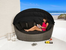 Liegeinsel Barcelona Oval grey mix Polyrattan Sonnenliege Lounge Gartenliege