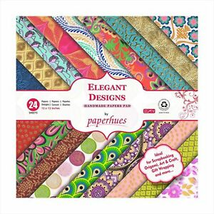 """Paperhues Elegant Designs Collection Scrapbook Papers 12x12"""" Pad, 24 Sheets."""