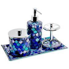 Hand Crafted Aqua Blue 4 Piece Mosaic Bathroom Set