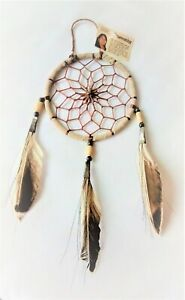 """Navajo 4"""" Dream Catcher with traditional antiqued look. Native American made"""