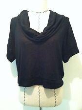 Pink Rose black crop top shirt short sleeve drape turtle neck sz M off shoulder