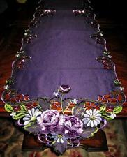 "Purple Rose Lacy Embroidered Table Runner Dresser Scarf Doily Topper 68""x 13"""