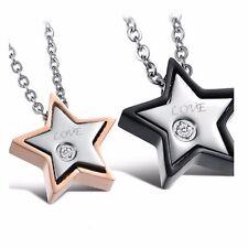 Men's 18K GoldGP Made with SWAROVSKI Element Couple DoubleStars Pendant Necklace