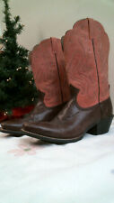 ARIAT Women brown & Coral Leather Cowboy Boots Size 10 B Style #15821