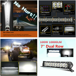 "1x 100W 7"" 12D LED Work Light Bar Spot Beam For Offroad 4x4 ATV Driving Fog Lamp"