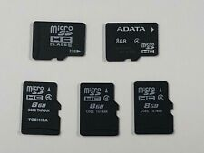 Lot of 5 Used 8GB Micro SDHC Memory Cards (Adata Toshiba Generic Class 4/6)
