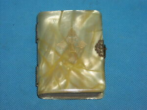 """Miniature KEY OF HEAVEN Vintage Celluloid Mother of Pearl Cover Prayer Book 4"""""""