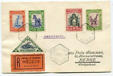 Mozambique registered multifrkd. cover BEIRA to Berne 1-10-1937