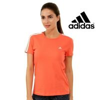 Adidas Essentials Womens Coral Pink 3 Stripe T-Shirt Tee Top Free Tracked Post