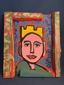 Georgia Folk Artist Eric Legge Painting on Wood of King - Signed and Dated 2000