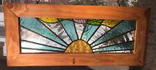 Handmade Lead Stained Glass Window Wood Frame Sun W/ Rays ^High Quality Glass^