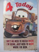 BRILLIANT COLOURFUL MATER FROM CARS 4 TODAY 4TH BIRTHDAY GREETING CARD