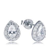 925 Pear Teardrop Halo Sterling Silver Cz Cubic Zirconia Earrings Studs SS12D