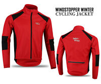 Mens Cycling Windstopper Winter Jacket Thermal Fleece Windproof Coat - Red