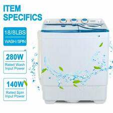 26 LBS Mini Washing Machine Compact Twin Tub Laundry Spiner Dryer w/ Drain Pump