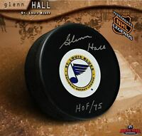 GLENN HALL Signed & Inscribed St Louis Blues Vintage Puck - Chicago Blackhawks