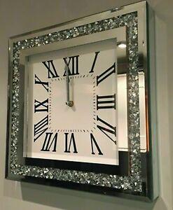 Elegant Crushed Mirror Jewel wall clock roman diamante glass Silver hands 35cm