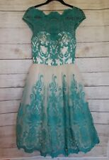 Chi Chi London teal turquoise lace Midi Prom bride shower Dress, Size 6