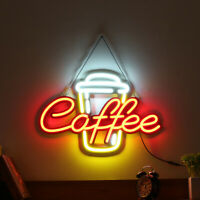 60x40cm Coffee LED Neon Sign Night Light Cafe Bar Party Wall Decoration 110-240V