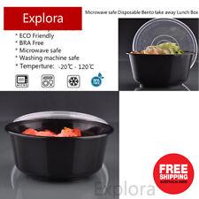 30 Sets Plastic Round Take away Food Container Bento Box 450ml, Black Bowl
