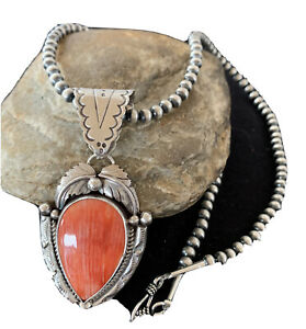 Navajo Native Amer Sterling Silver Red Spiny Oyster Necklace Pendant Set 1285