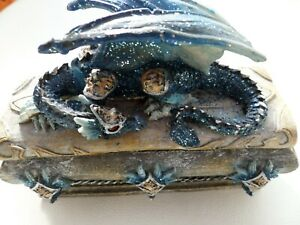 """Dragon lidded box 51/2"""" x 2"""" in blue and grey"""