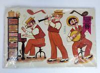 NEW Vintage Meyercord Decal 1530-A 3 Man Rag Band Banjo Clarinet Piano