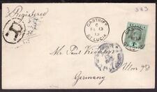2874 ST. LUCIA TO GERMANY REGISTERED COVER 1913 CASTRIES - ULM VIA LONDON look!!