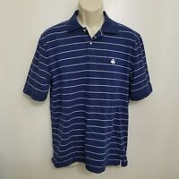 Brooks Brothers Mens Polo Shirt Large Blue White Plaid Cotton Short Sleeve