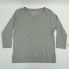 Karen Scott Petite Women Top Crew Neck Pullover Sweatshirt Smoke Grey Heather PM