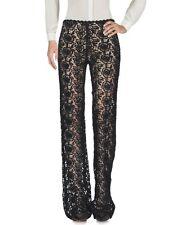 BLUMARINE Black Sheer Lace Crochet Macrame Pants 38 2
