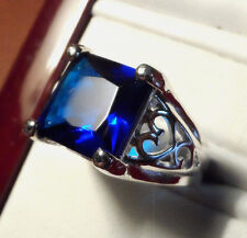 New 925 Silver Plate Simulated BLUE SAPPHIRE Ring womens 6 Princess Square Stone