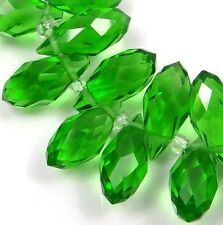 20 glass Quartz Faceted Teardrop Beads 13x6mm - Peridot Green