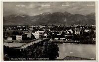 Rosenheim im bayerischen Hochland AK 1949 gelaufen Teilansicht mit Brücke Berge