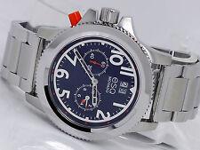 NEW ESQ MOVADO 07301424 BLUE DUAL TIME SWISS QUARTZ MEN'S STEEL WATCH FUSION