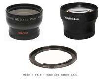 Wide + Tele Lens + Ring bundle for Canon Powershot SX530 HS, SX520 HS, SX60 HS
