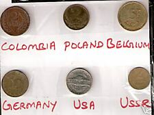 6 DIFFERENT COUNTRIES COINS LOT WITH COLOMBIA BELGIUM GERMANY # MF 12