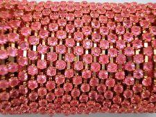 Acrylic 3mm Rhinestone Chain 1m Pink/Gold Costume Sew Dance FREE POSTAGE