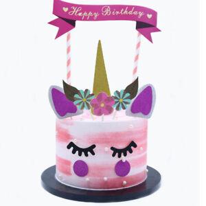 Unicorn Glitter Cake Topper Card Girls Birthday Party Decorations Pink Theme UK