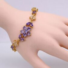 Fashion Flower Purple Crystal Cubic Zirconia 18K White Gold Plated Bracelet