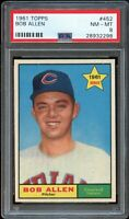 1961 Topps BB Card #452 Bob Allen Cleveland Indians STAR ROOKIE PSA NM-MT 8 !!!