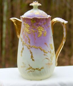 ANTIQUE FRENCH PHL LIMOGES COFFEE POT FLORAL HEAVY GOLD LEAF DECOR 1890-1914