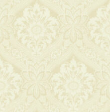 Traditional High End Victorian Damask Sand Cream Tan Double Roll Wallpaper