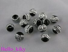 100Pcs Black/Silver carved lantern Aluminium beads M571