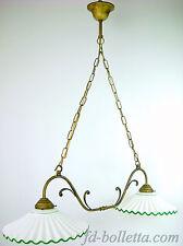 Lampadario ottone brunito liberty sospensione due luci,piatti ceramica l2r2013