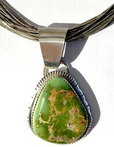 Vintage Green Fox Turquoise & Sterling Navajo Pendant by Augustine Largo