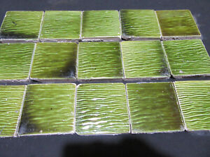 ~ LOT OF 15 ANTIQUE VICTORIAN TILES SEA GRASS 3 1/8 SQ ~ ARCHITECTURAL SALVAGE